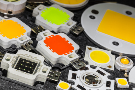 various powerful color 10W LED chips cooled solid aluminum and a few smaller chips of various shape