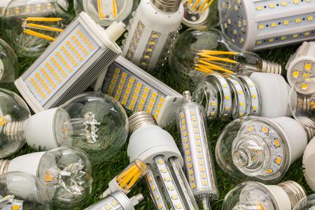 Große Familie von Eco LED-Lampen verschiedener Arten auf dem grünen Rasen Standard-Bild - 72267297