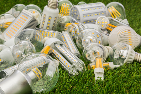 big family of eco LED bulbs of various types on the green grass Stock Photo