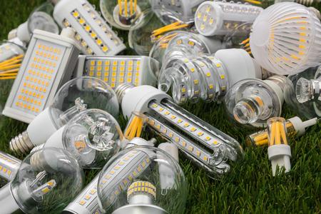 Große Familie von ökologischen und wirtschaftlichen LED-Lampen verschiedener Arten auf dem grünen Rasen Standard-Bild - 73947280