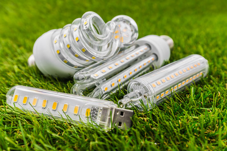 various types of ecological and economical LED bulbs ( E27 similar shape as CFL ) in the green grass Stock Photo