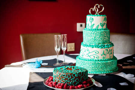 Gourmet Cakes on a table Imagens