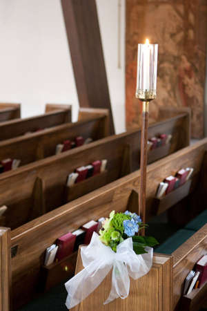 Pews in a wedding ceremony