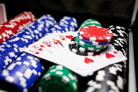 dealt: Cards with Chips Stock Photo