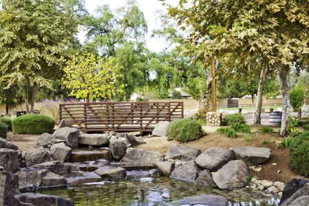 A beautiful stream flowing underneath a small bridge in a park.