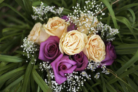 A bouquet of flowers surrounded by lush greeery Imagens