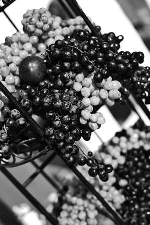 Grapes and plums on a tier in monochrome