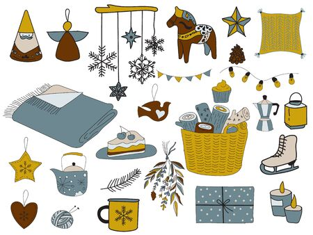 Vector New Year set. Hugge style. Comfort homely atmosphere. Winter set.