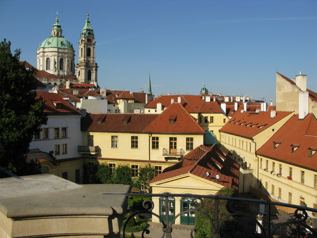 baroque architecture: Prague Mala Strana, Czech Republic - A look at the historical center, baroque architecture, St. Nicholas Cathedral in the background Editorial