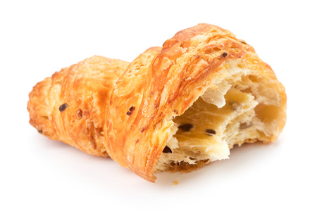 single bitten croissant isolated on white background