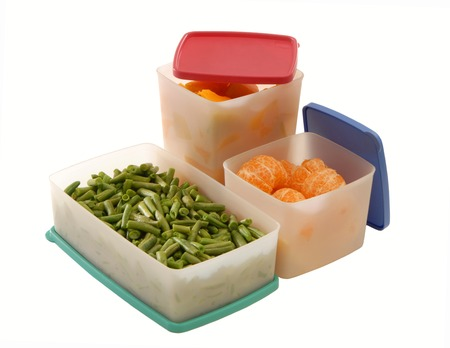 A food is on white plastic containers  Stock Photo