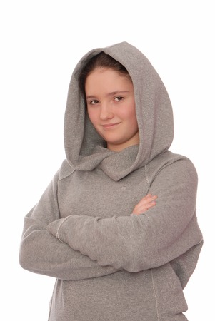 Confident girl is in grey hoodie  photo