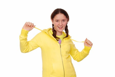 Merry girl is in yellow clothes  Stock Photo