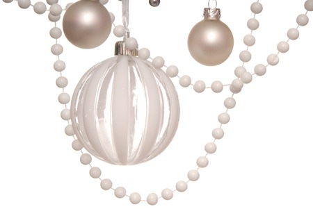 christmastree: white Christmas-tree decorations