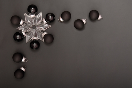 pretty s shiny: black  Christmas-tree decorations Stock Photo