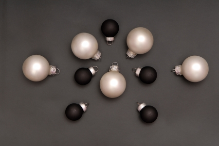 Black and white christmas-tree decorations photo