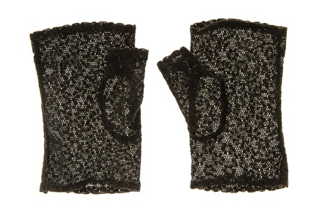 lace gloves: They are a pair of black lace gloves