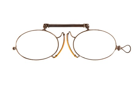Antique pince-nez is on white background  Stock Photo