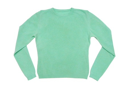 A turquoise sweater is on white background  photo