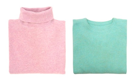 motton blue: Two sweaters are on white background
