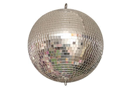 A disco ball is on white background