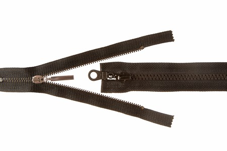 Two black zippers are on white background Stock Photo - 23463872