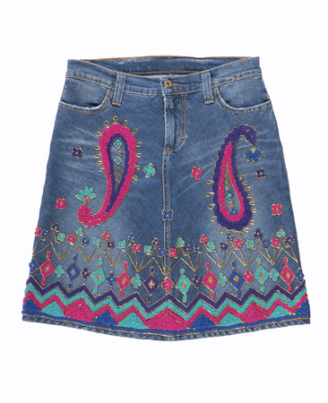 Denimi skirt with embroidery Stock Photo