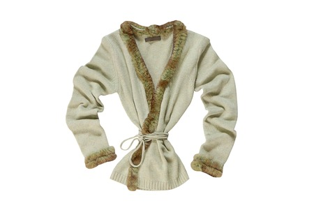 A knitted jacket is on white  photo