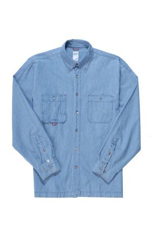 plain stitch: Blue denim shirt