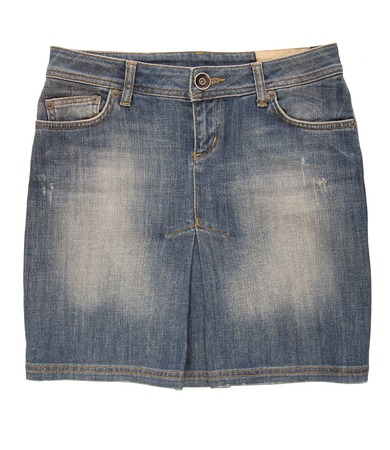 A jean mini skirt is on white background  photo