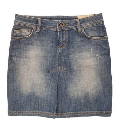 mini falda: Un jean mini falda es en el fondo blanco
