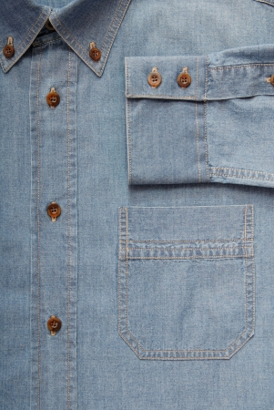 jeanswear: It is a close-up of denim shirt