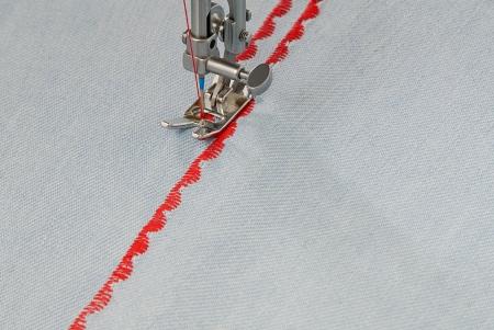 A sewing-machine makes figure seam  photo