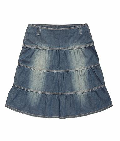 bell bottomed: Blue denim skirt  is on white background