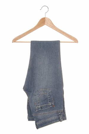 A blue jeans are on hanger