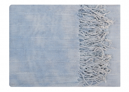 spliced: It is a light blue scarf with fringe