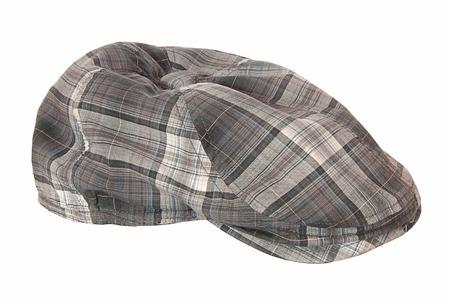 cloth cap: It is a checkered cloth cap  Stock Photo