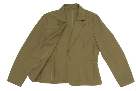 mackintosh: A snuff-color jacket is on white background  Stock Photo
