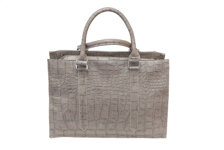 leatherette: It is a grey leatherette handbag  for woman