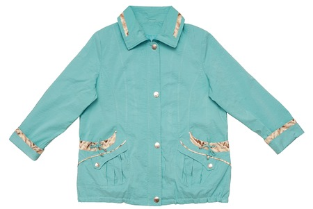 waterproof cape: A turquoise jacket is on white background