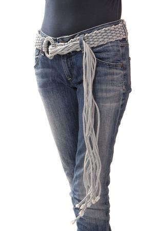 The wattled denim belt is on woman