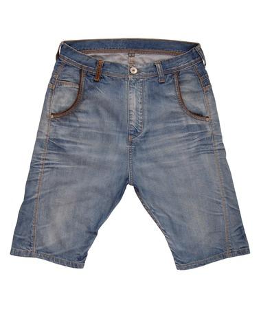 gentleman's: Denim shorts are on white background