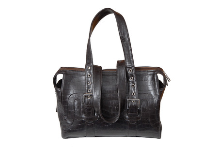 woman s bag: It is a brown leatherette handbag  for woman  Stock Photo