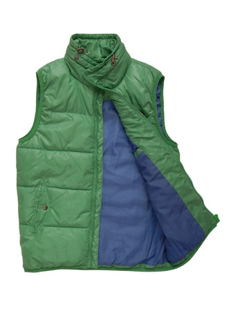 A warm green waistcoat is on white