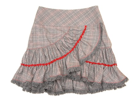 bell bottomed: It is a checkered skirt with flounce  Stock Photo