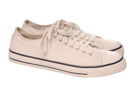 It is a pair of white gym-shoes