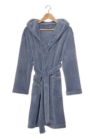 Blue bathrobe on hanger