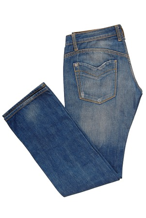 Folded blue jeans
