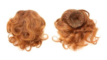 Red-haired chignon is made of natural hair