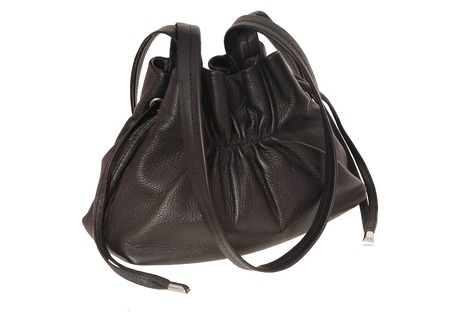 woman s bag: A black leather handbag is on white background